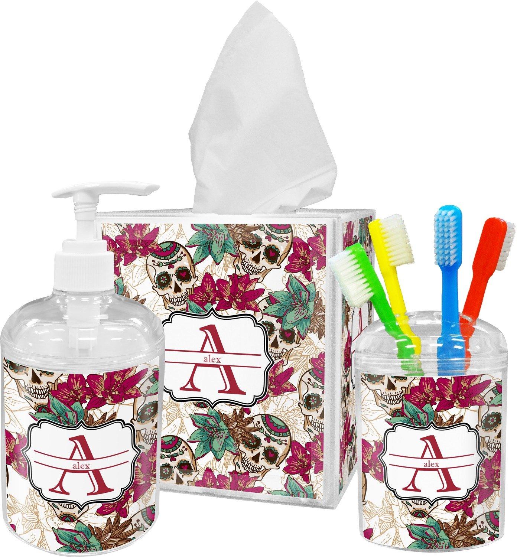 Amazon.com: RNK Shops Sugar Skulls & Flowers Bathroom Accessories ...