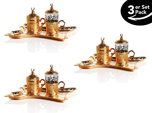 Lussodor - Juego de 5 tazas de café de alta calidad Lily con diseño de rosas y cubierta de media luna de cobre y níquel en 4 colores Gold-gelb: Amazon.es: Hogar