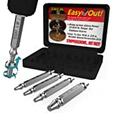 Damaged Screw Extractor and Remove Set by Aisxle,Easily Remove Stripped or Damaged Screws. Made From H.S.S. 4341#, the Hardness Is 62-63hrc,Set of 4 Stripped Screw Removers