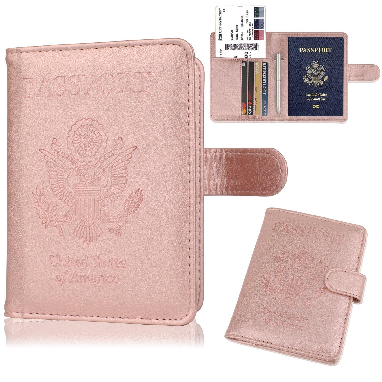 GDTK Leather Passport Holder Cover Case RFID Blocking Travel Wallet (Rose Gold) by GDTK (Image #2)