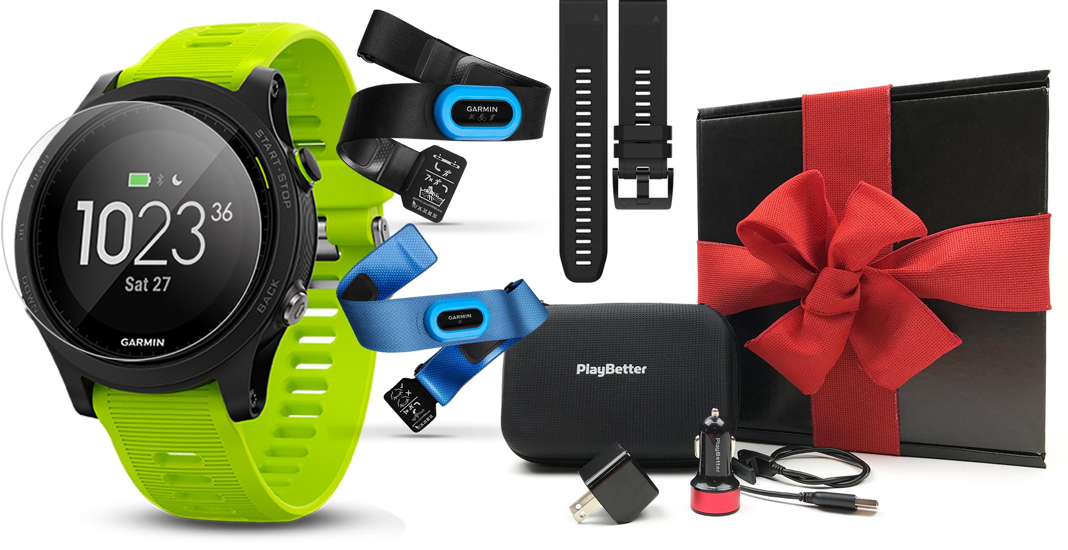 Garmin Forerunner 935 (Tri-Bundle) Gift Box | Includes HRM Tri & Swim Chest Straps, Extra Watch Band, Glass Screen Protectors, PlayBetter USB Car/Wall Adapters, Protective Case | GPS Running Watch