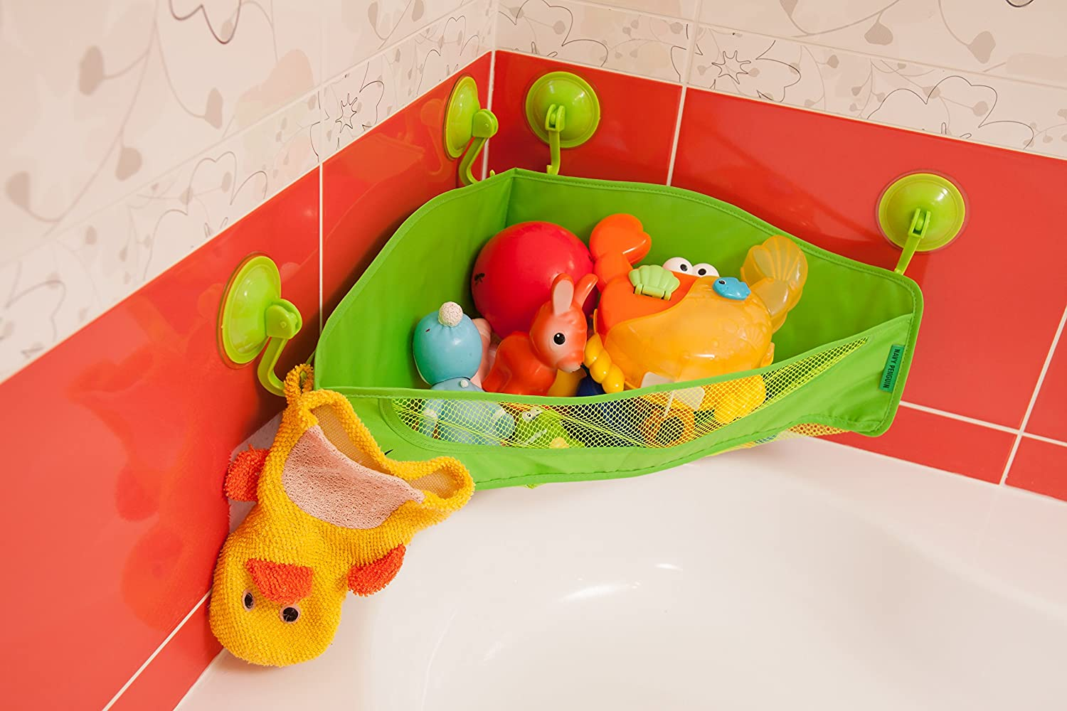 Amazon.com: Bath Toy Organizer - 4 Strong Suction Cups - Bathtub ...