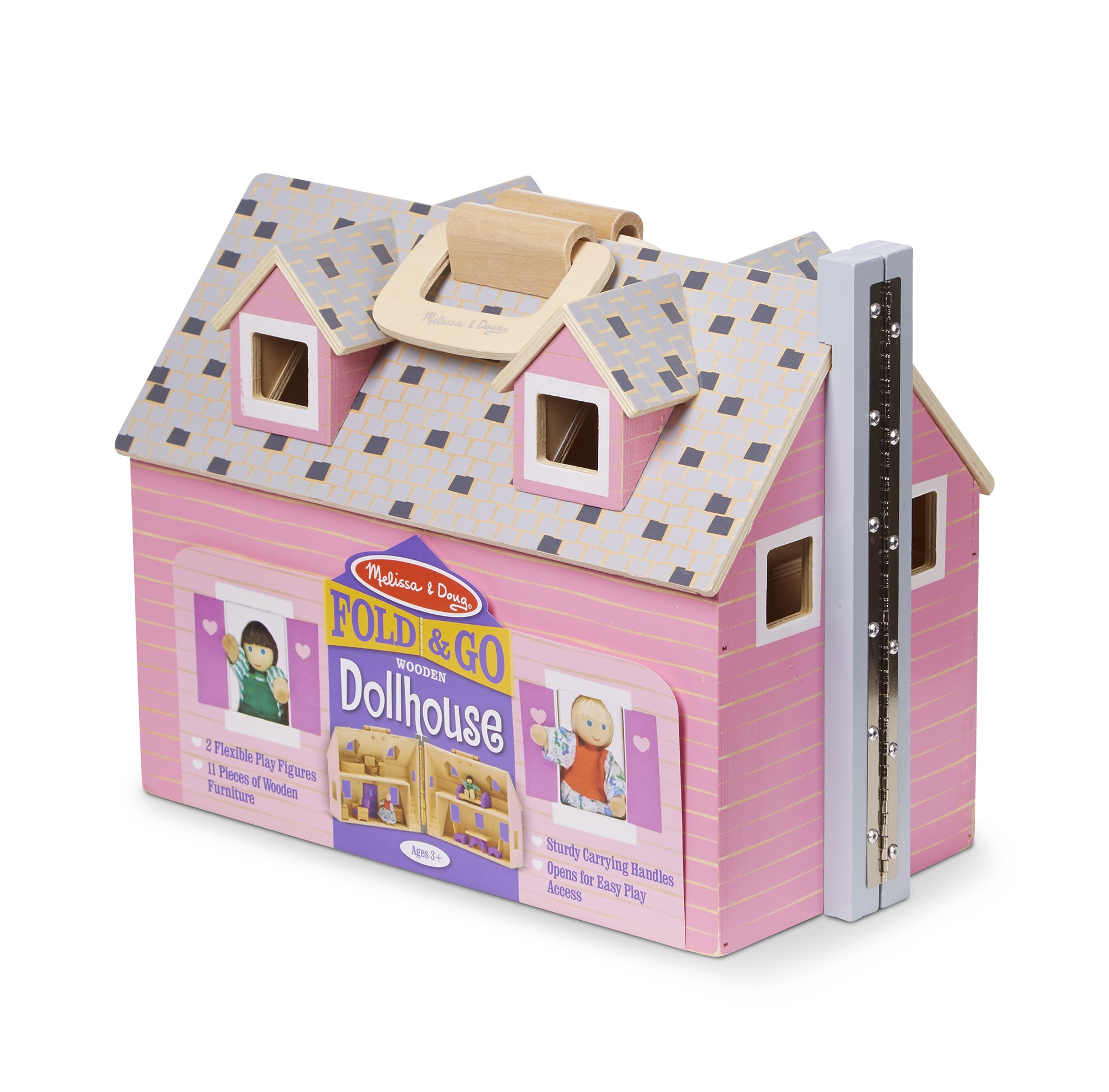Details About Melissa Doug Fold And Go Wooden Dollhouse With 2 Dolls And Wooden Furniture