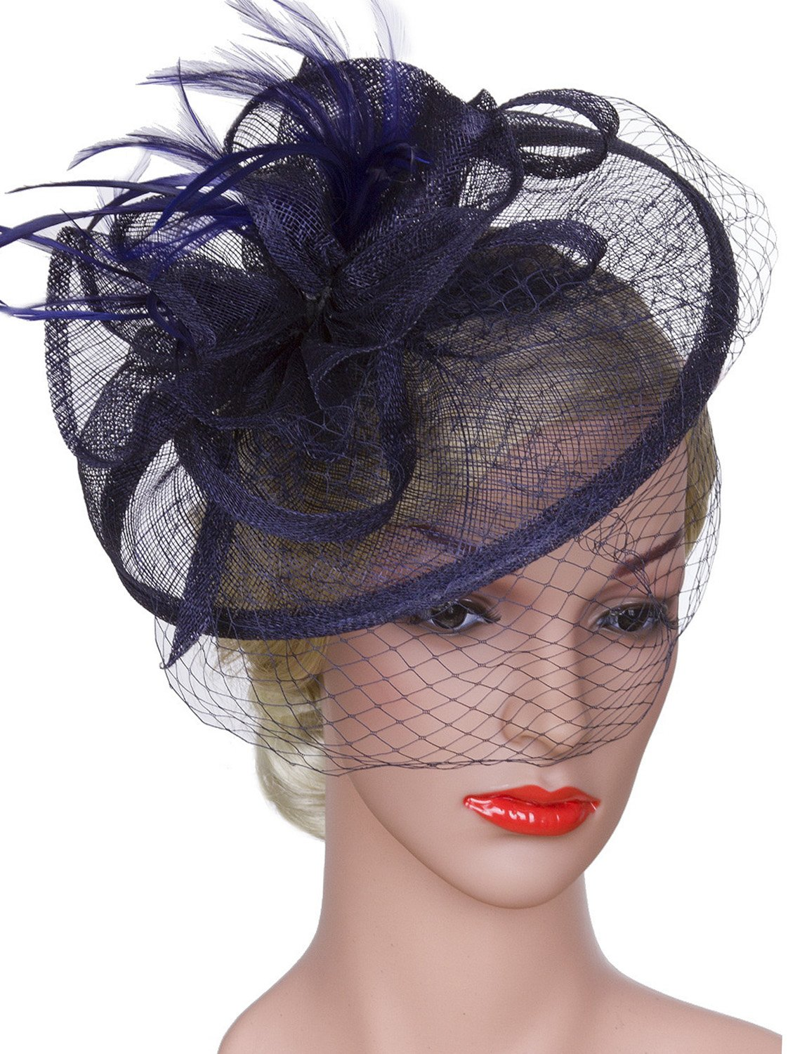 Vijiv Women Vintage Derby Fascinator Hat With Veil Pillbox Headband Feather Cocktail Tea Party Navy One Size