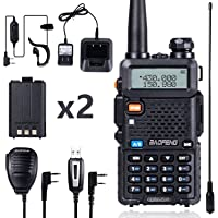 BaoFeng Walkie Talkie UV-5R Dual Band Two Way Radio with one more 1800mAh UV5R Battery one Hand Mic and one TIDRADIO 771…