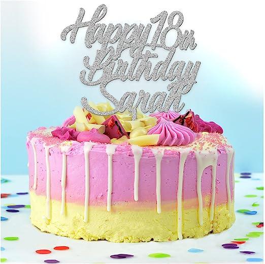 Peachy Personalised Happy Birthday Cake Topper Any Age Name 18Th Personalised Birthday Cards Veneteletsinfo