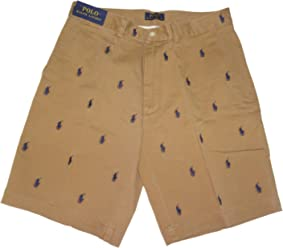 Polo by Ralph Lauren Mens All Over Pony Shorts Tan