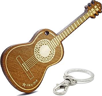 LIKY® Guitarra acustica - Llavero Original de Madera Grabado ...
