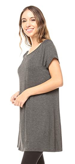 218d3c57545 Free to Live Women's Long Flowy Short Sleeve or Sleeveless Tunic (Small,  Charcoal)