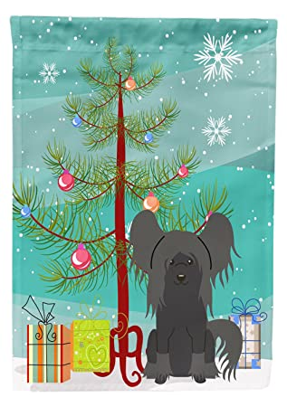 Merry Christmas In Chinese.Caroline S Treasures Bb4237gf Merry Christmas Tree Chinese Crested Black Garden Size Flag Small Multicolor