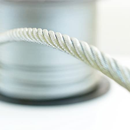 SET 15m wire rope stainless steel strand:7x7 6mm many sizes avaliable 4 clips many sizes avaliable