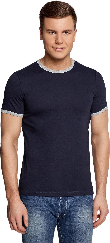oodji Ultra Hombre Camiseta Recta con Acabado en Contraste, Azul ...