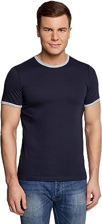 oodji Ultra Hombre Camiseta Recta con Acabado en Contraste, Azul, ES 58-60 / XXL: Amazon.es: Ropa y accesorios