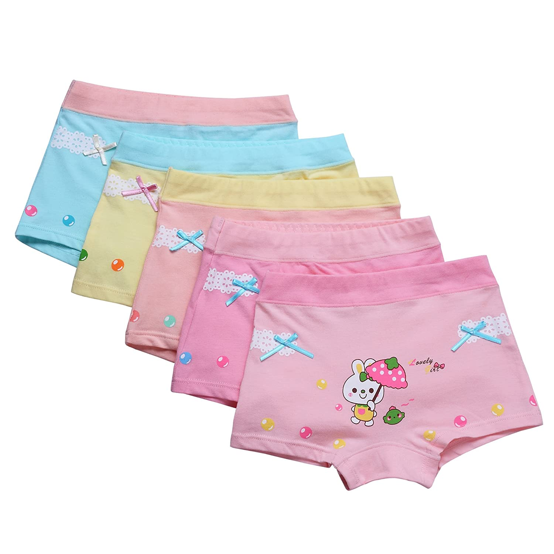 LeQeZe 6 Pack Little Girls Boyshorts Knickers Cotton Boxer Briefs Underwear Size 2-13 Years