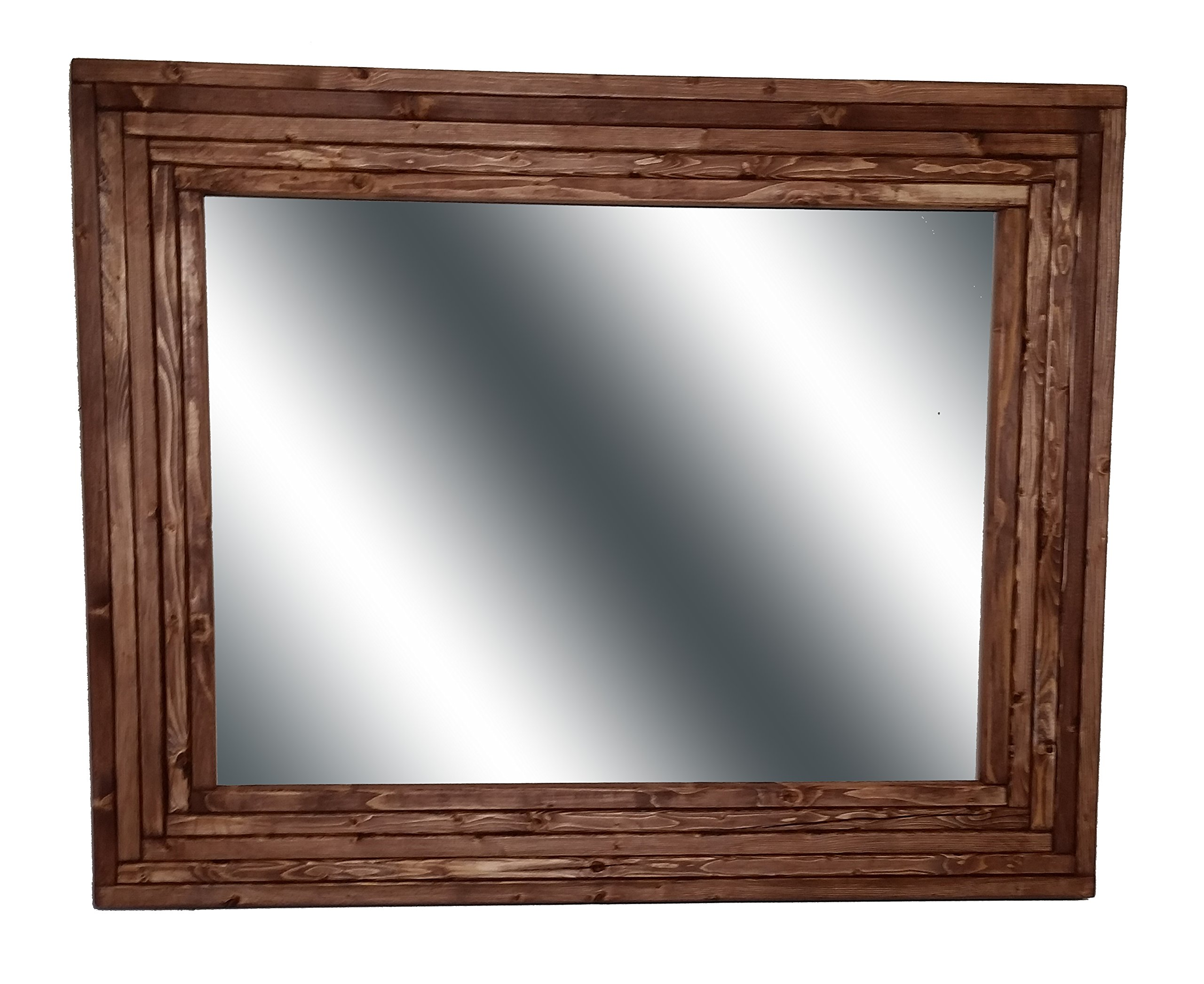 Mid Century Modern 30 x 24 Horizontal Mirror Stained in English Chestnut - Large Wall Mirror - Rustic Modern Home - Home Decor - Mirror - Housewares - Woodwork - Frame by Renewed Decor