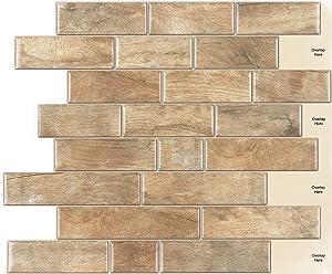INTERSMART DÉCOR 12''X10'' Peel and Stick Backsplash Tile, 3D Wood Wall Panels, Self Adhesive Backsplash, Waterproof Wall Stickers for Kitchen Bathroom Living Room Home Interior Decoration, 10 Pack