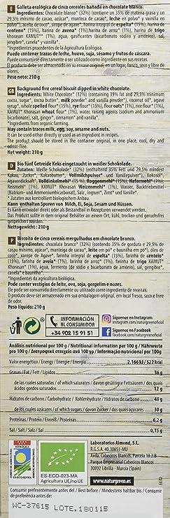 ECOGALLETA 5 CEREALES CON BAÑO CHOCOLATE BLANCO: Amazon.es: Salud y cuidado personal