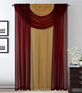 Better Home Style Complete Window Sheer Curtain All-in-One Set with 4 Attached Panels and 2 Attached Valances with Beads for Living Room, Dining Room, Or Any Other Windows (Burgundy/Gold)