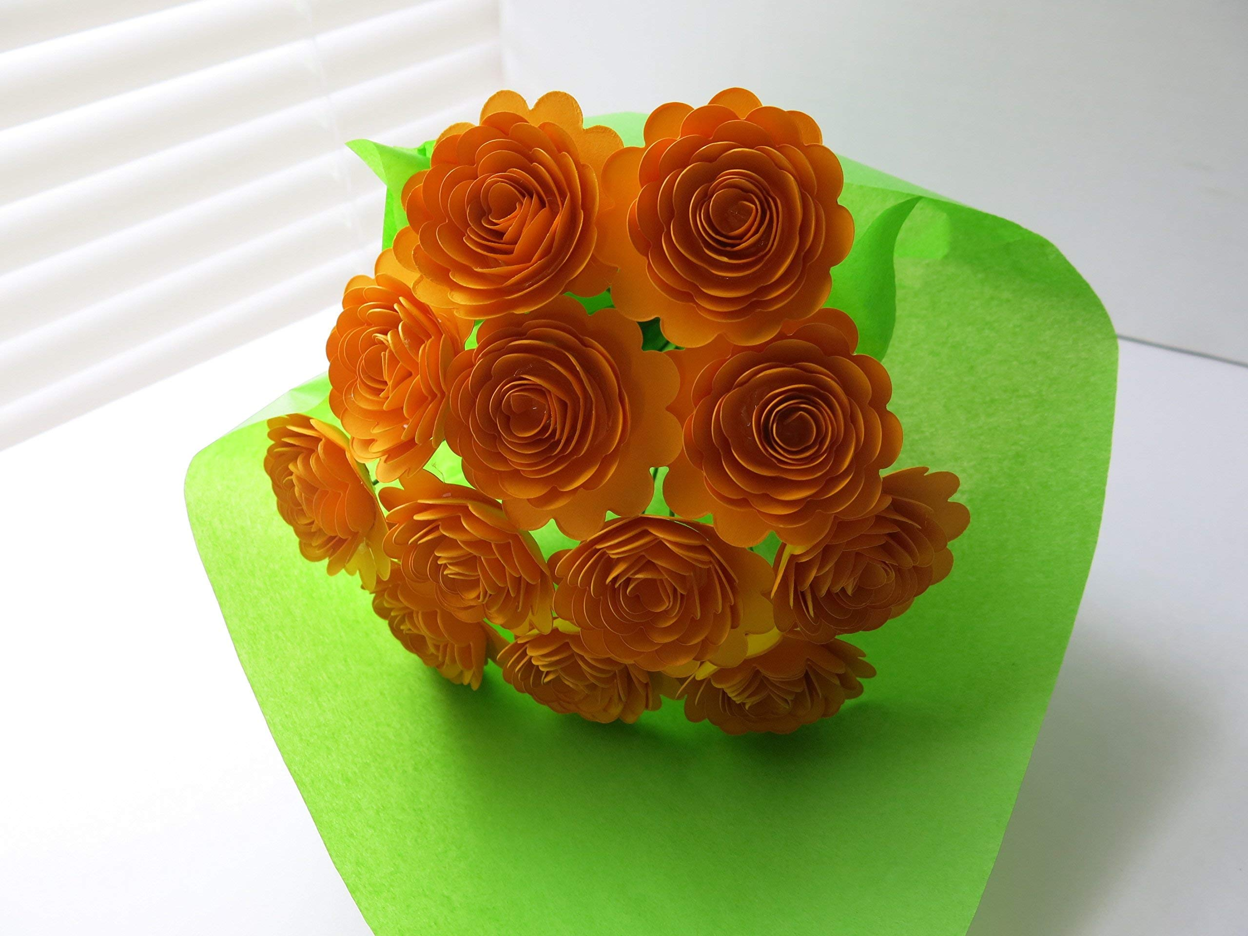 Gold-Carnations-on-Stems-Fall-Bouquet-of-12-Scalloped-Paper-Roses-15-Flowers-Autumn-Thanksgiving