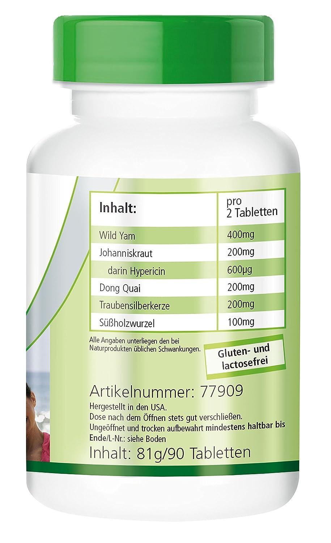 Meno-Ease - VEGANO - Altamente dosificado - 90 comprimidos - con ñame silvestre, dong quai y más - ¡Calidad Alemana garantizada!: Amazon.es: Salud y cuidado ...
