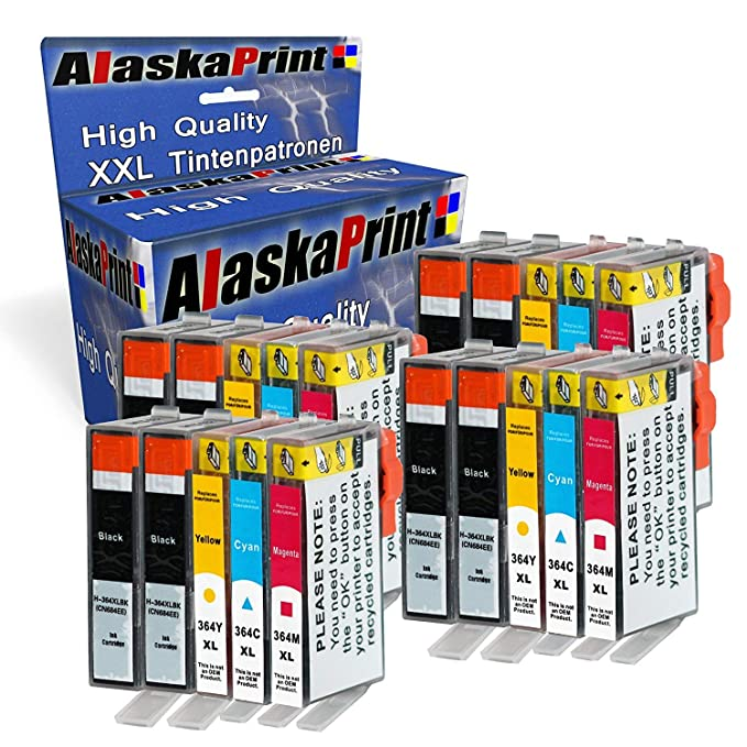 Alaskaprint 364XL Cartuchos de Tinta para HP 364 con HP Photosmart 5520 5510 5522 5524 6520 7510 7520, 4622 6510 5515 B110A B8550, OfficeJet 4620, ...