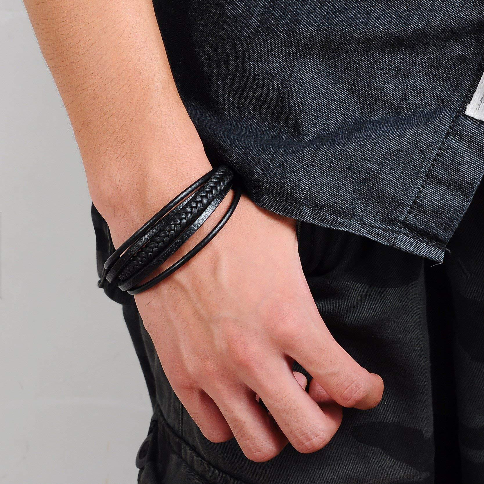 Bracelet en Cuir Véritable Homme - Fermoir Aimanté en Acier - Livré dans sa boite - Noir et Marron (Noir)