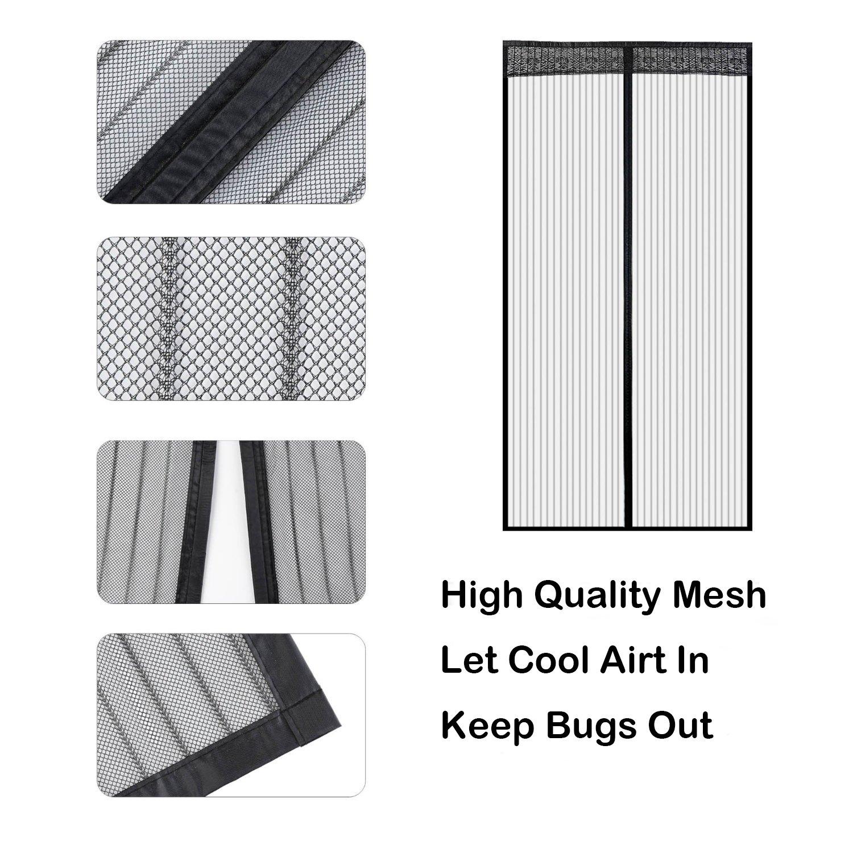 Icegrey /Écran Magn/étique Rideau de Porte D/éfense Contre Moustiques ou Insectes Convient portes jusqu/à 200cm x 220cm Noir