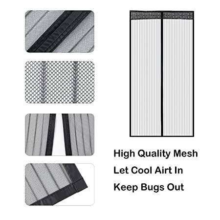 Liveinu Magnetic Screen Door Screen Mesh Curtain with Upgraded Adhesive Clip Install Fits Doors Up To 78 x 94 Inch Fly Mosquito Curtain with Heavy Duty Mesh Black 35 x 78 Inch