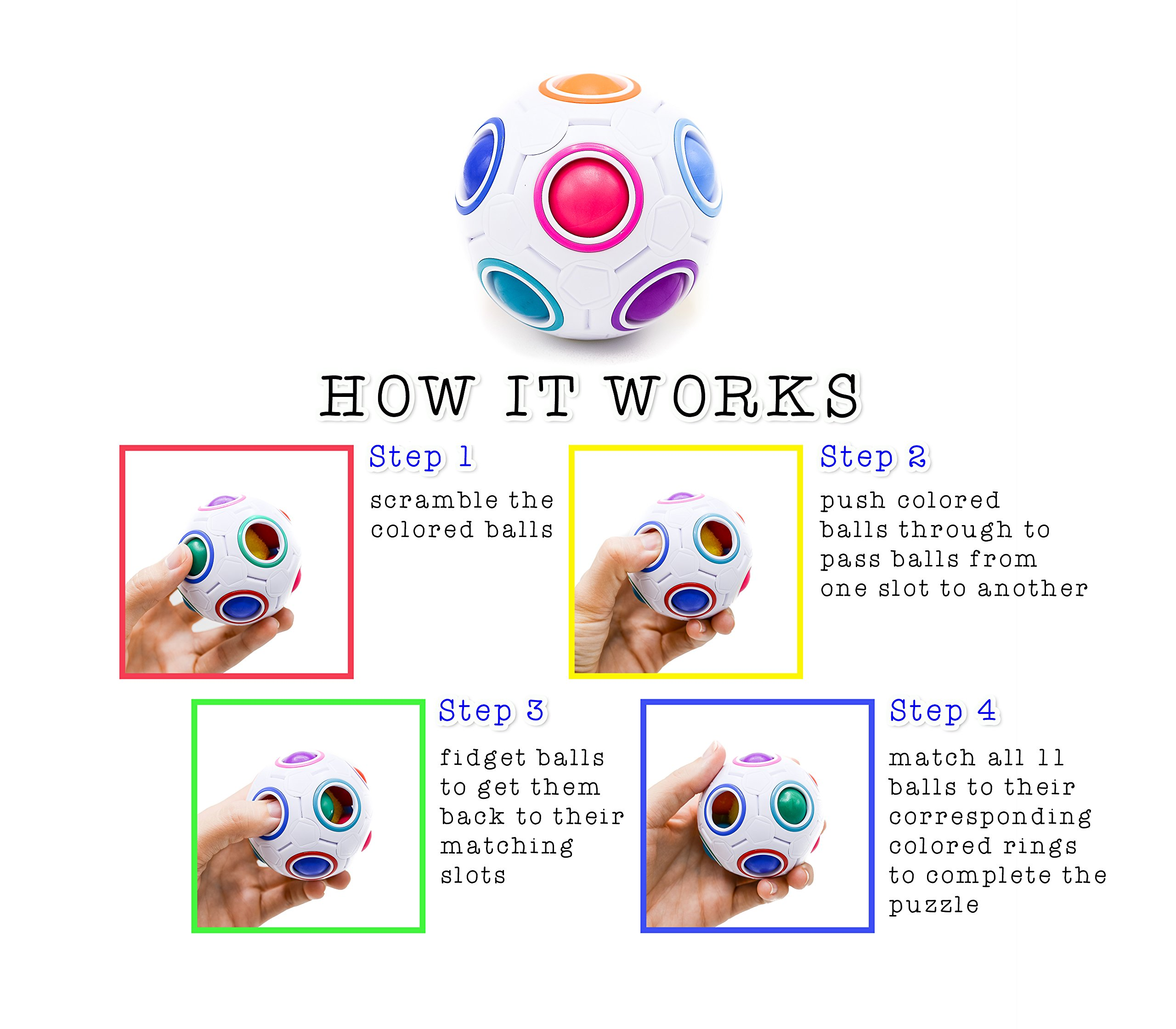 Toyzabo Challenging Puzzle Speed Cube Ball, Fun Fidget Toy Brain Teaser With 11 Rainbow Colors (10 Pack) by Toyzabo (Image #3)