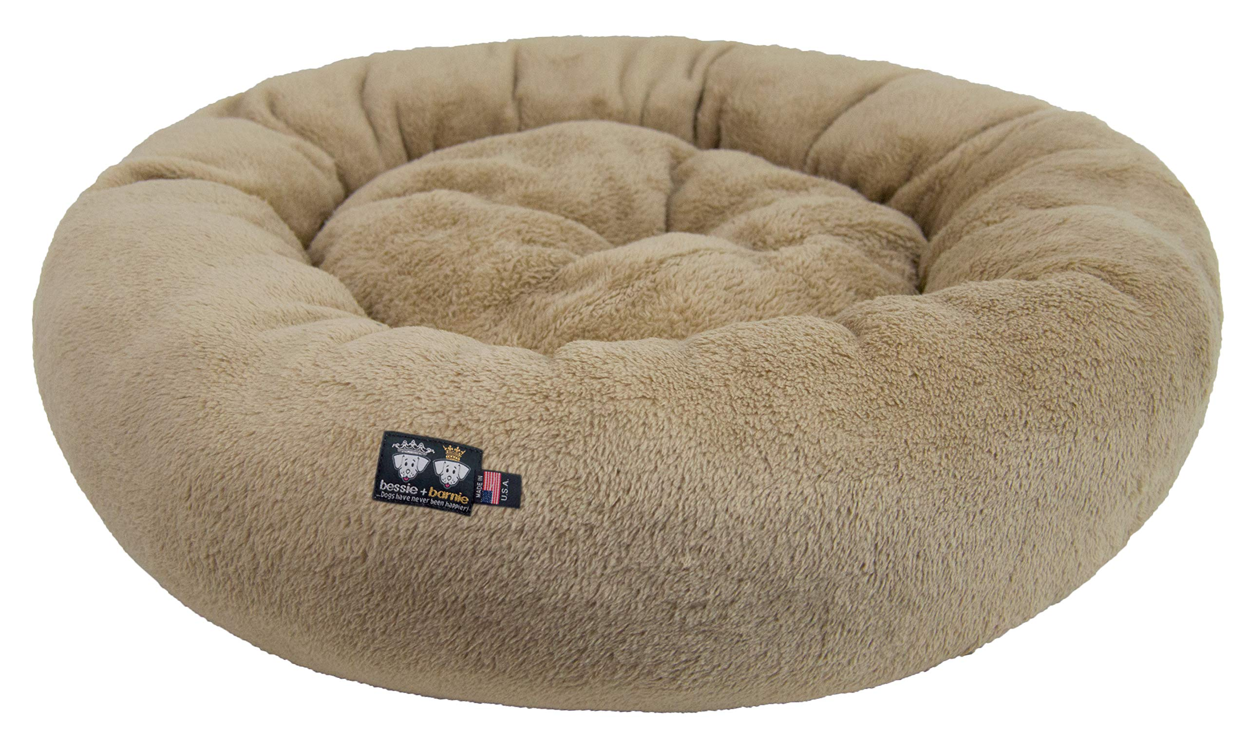 BESSIE AND BARNIE Ultra Plush Deluxe Comfort Pet Dog & Cat Taupe Snuggle Bed (Multiple Sizes) - Machine Washable, Made in The USA, Reversible, Durable Soft Fabrics by BESSIE AND BARNIE