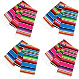 Habbi Mexican Table Runner 4Pack 14 x 110 Inches Large Mexican Theme Party Decoration for Cinco de Mayo Fiesta Party…