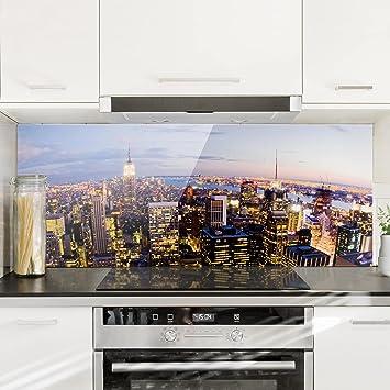 Bilderwelten Spritzschutz Glas - New York Skyline bei Nacht ...