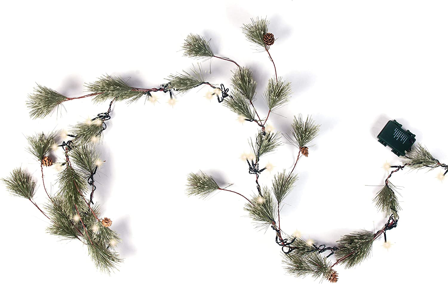 Joiedomi 6 Ft. Smokey Pine Christmas Garland Pre-Lit with 50 Clear Lights Home & Office Holiday Decoration