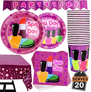 82 Piece Girl Spa Party Supplies Set Including Banner, Plates, Cups, Napkins, and Tablecloth, Serves 20