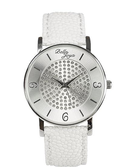 Bella joya moderna de mujer reloj Lu con brillantes funkelnden, raya de estructura de correa de piel auténtica Color Blanco: Amazon.es: Relojes
