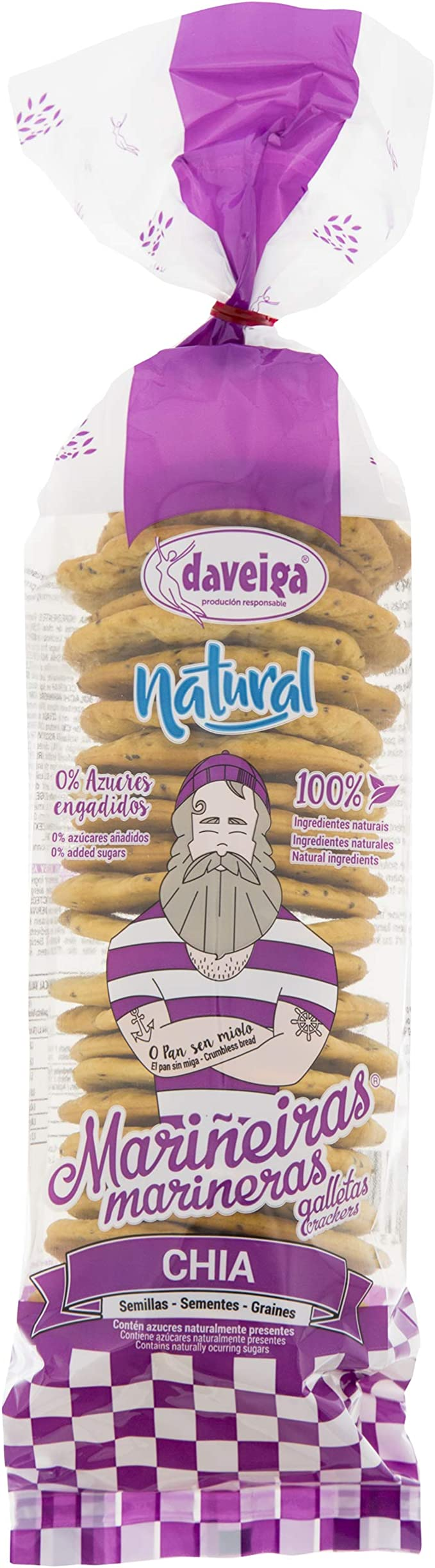 Marineras Daveiga, Galleta Marinera 100% Natural con Semillas de Chía y Aceite de Oliva Extra Virgen. Sin azúcares añadidos. Sin conservantes ni colorantes- 5 bolsas de 200 gr. (Total 1000 gr.): Amazon.es: