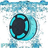 Altavoces Altavoz ducha, IP67impermeable portable Wireless Bluetooth 4.0de calidad premium con super bass sonido HD y la respiración Luz LED para piscina playa baño barco Sauna o spa, Anaranjado