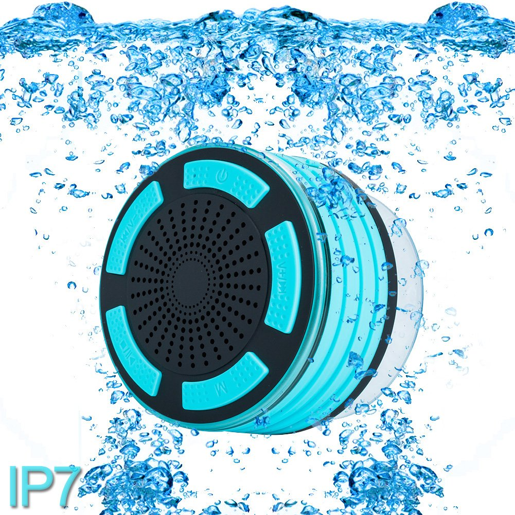 Premium Quality Shower Speaker, IP67 Waterproof Portable Wireless Bluetooth 4.0 Speakers with Super Bass HD Sound and Breathing LED Light for Pool Beach Bath Boat Sauna or Spa (Light Blue) by cjc