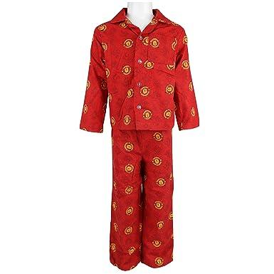 brand new new york really comfortable Official Boys Kids Manchester United Pyjamas Woven Long Sleeves Man Utd  Pyjama Set Red
