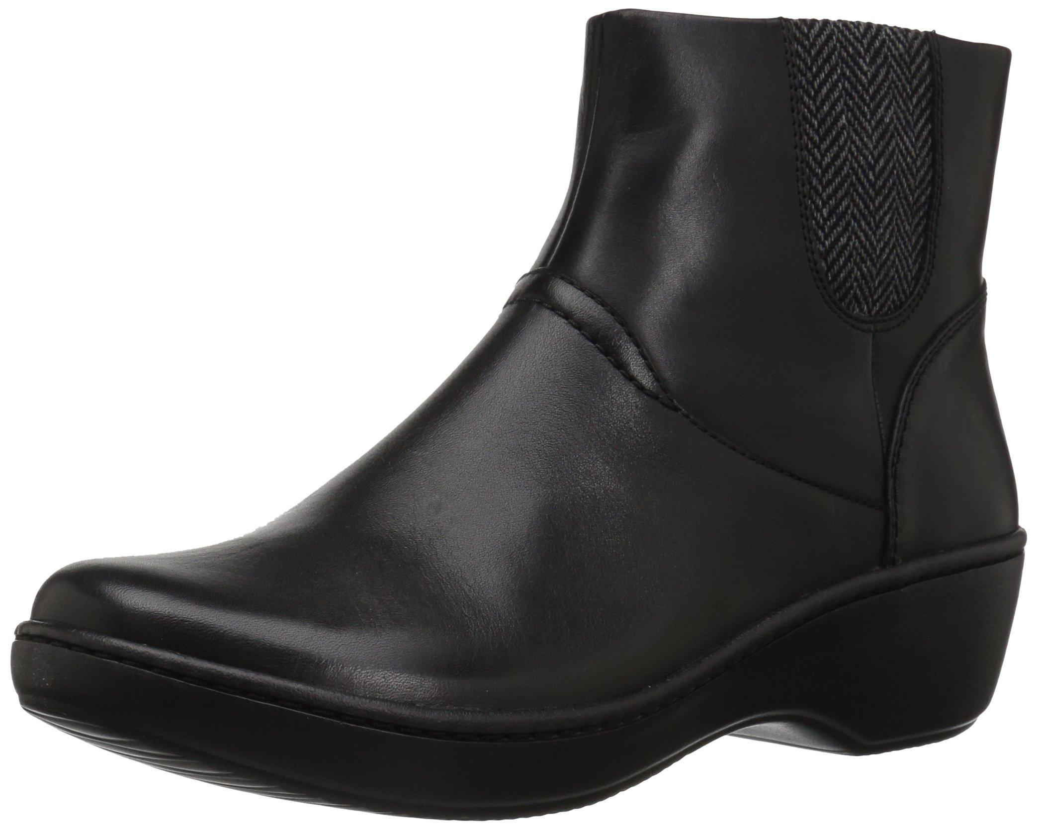 Clarks Women's Delana Joleen Boot, Black Leather, 9.5 M US