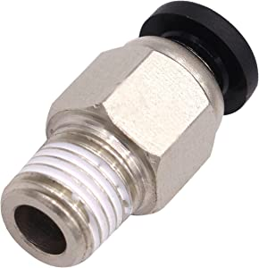 "Utah Pneumatic Push to Connect Fittings Pc Male Straight 1/4"" Od 1/8""Npt Thread Nylon & Nickel-Plated Brass Connect Push Lock Fittings Tube Pneumatic Fittings 10 Pack (PC 1/4 od1/8npt)"