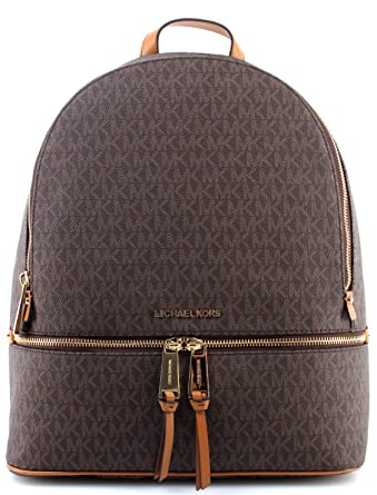 2517b80fa969 Women's Bag Backpack MICHAEL KORS 30F7GEZB7B Rhea Zip Brown Leather  Saffiano New: Amazon.co.uk: Clothing