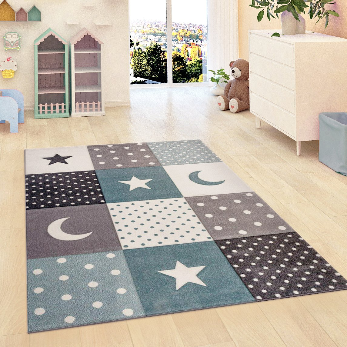 Children Rug Boys Bedroom Carpet Blue Grey Nursery Rugs Stars Soft Play Room Mat (80x150cm (2'6