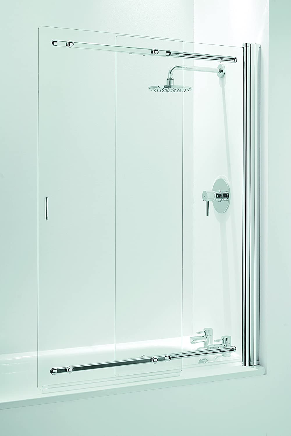 Coram Showers SSL2105CUC - 1400Mm X 650-1065Mm 2-Panel Deslizante Mampara De Baño De 5 Mm De Espesor De Cristal Claro - Chrome: Amazon.es: Bricolaje y herramientas