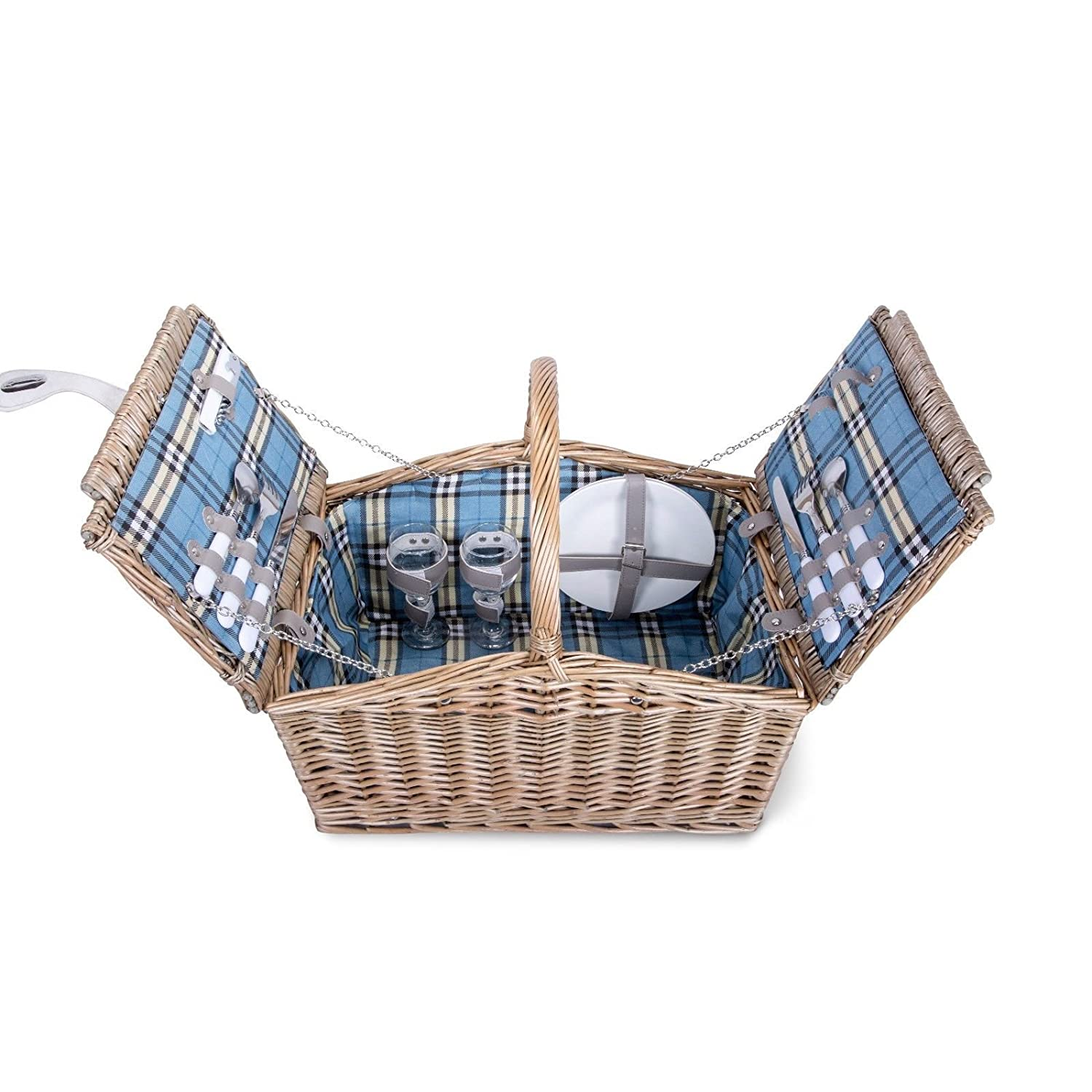 Basic House Ltd 2 Person Grey Wash Wicker High Handle Picnic Gift Hampers Storage Collection