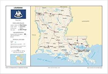 Amazon Com 13x19 Louisiana General Reference Wall Map Anchor Maps Usa Foundational Series Cities Roads Physical Features And Topography Rolled Office Products