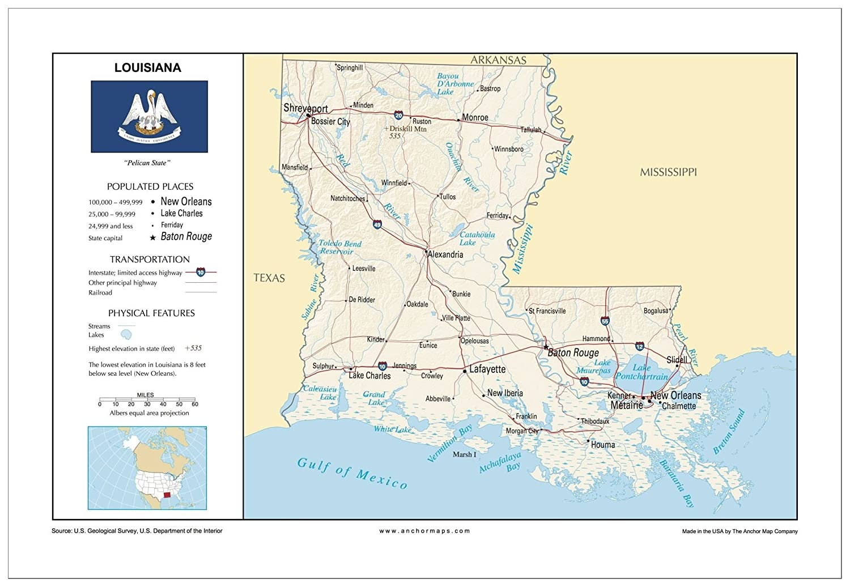 Amazon Com 13x19 Louisiana General Reference Wall Map Anchor