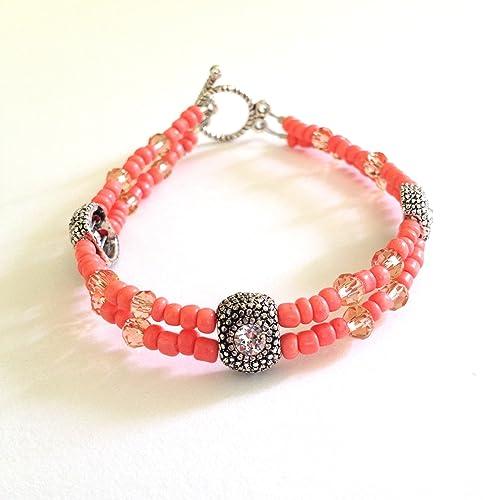 12e6a663928f Amazon.com  Swarovski Crystal   Pink Glass Toggle Clasp Bracelet ...