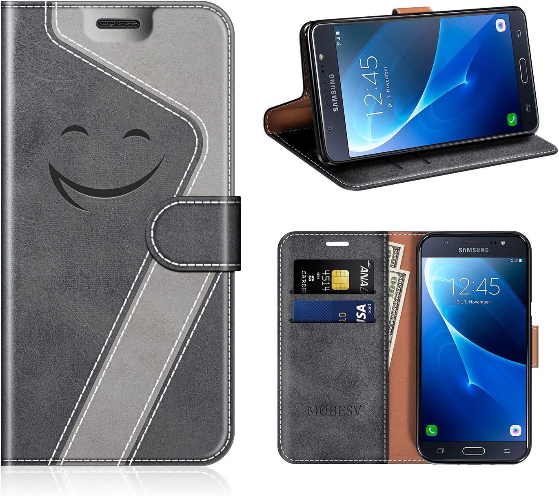 MOBESV Smiley Portefeuille Samsung Galaxy J7 2016, Coque Cuir Samsung J7 2016 Magnétique Étui Housse Cover avec Porte Cartes La Fonction Stand pour ...