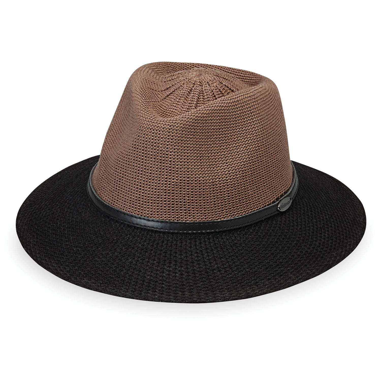 Wallaroo Hat Company Women's Monroe Fedora - Mocha/Black - UPF 50+, Modern Style, Designed in Australia by Wallaroo Hat Company